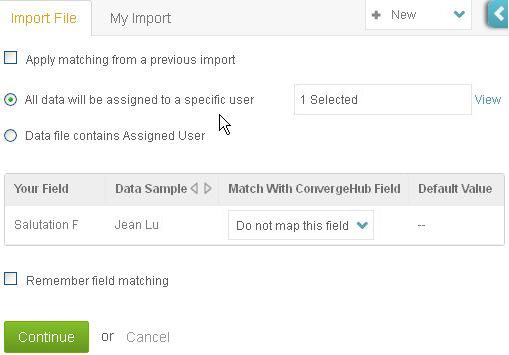 assign the imported contacts