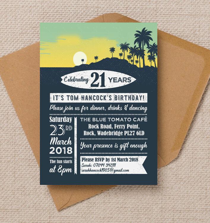 surf hawaiian themed 21st birthday party invitation