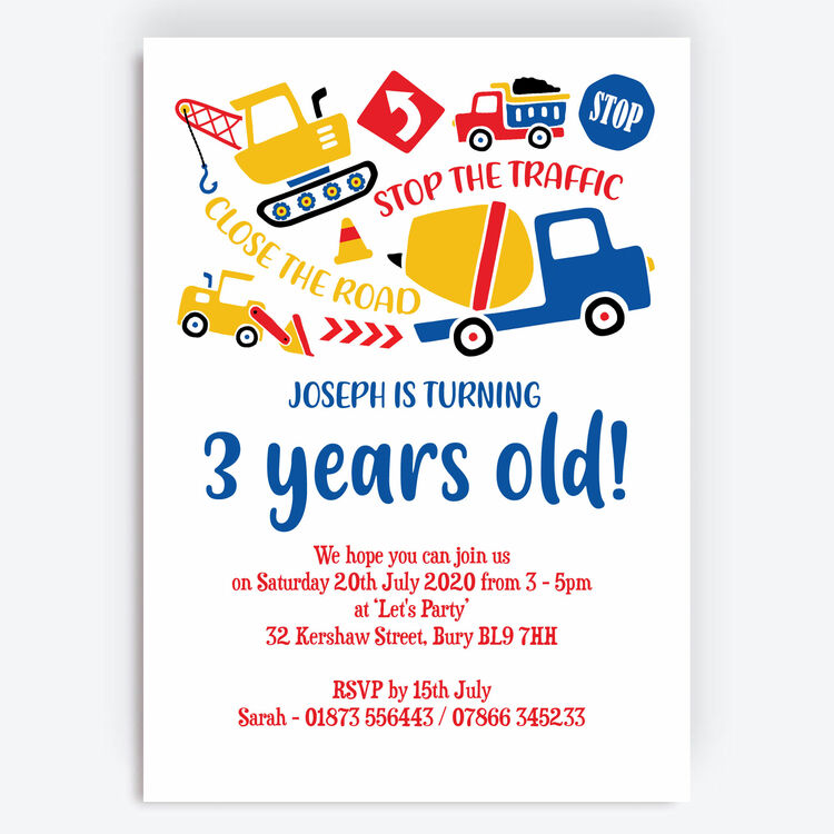 diggers trucks construction birthday party invitation