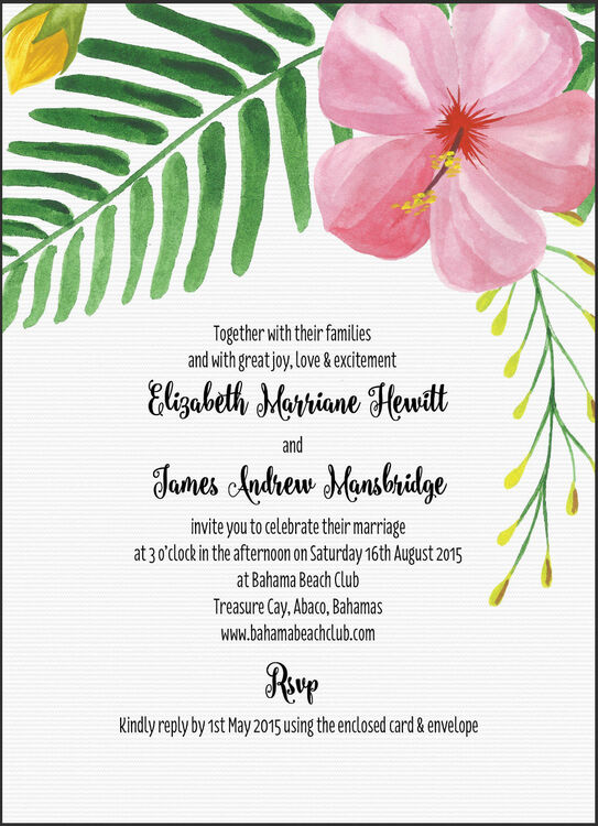 Tropical Flower Destination Wedding Invitation From 100 Each