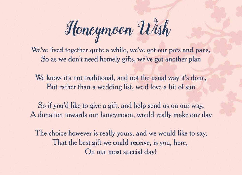 Navy & Pink Honeymoon Wish Poem Card From £0.40 Each