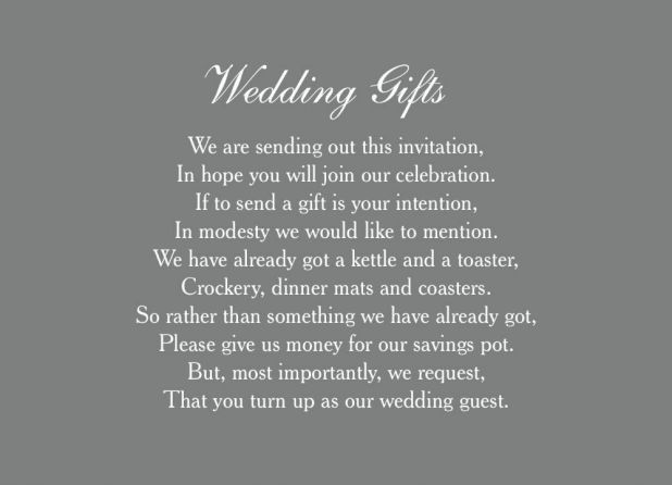 Giving Money As A Wedding Gift Poem Giftsite