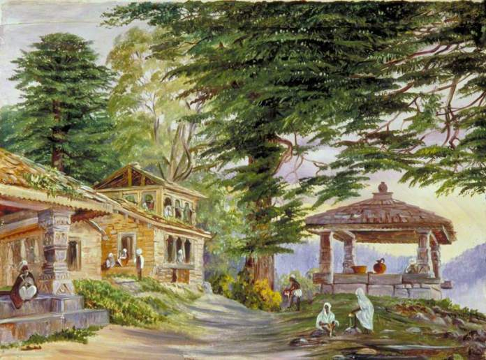 Marianne North's landscape painting of the Kumaon hills with cottages in the foreground. From the collection of  Royal Botanic Gardens, Kew. India paintings European Artists