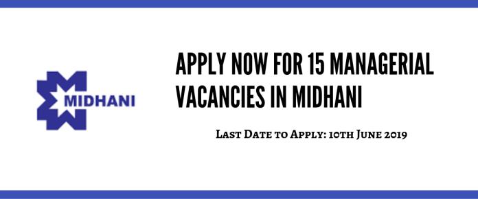MIDHANI Recruitment 2019