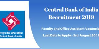 Central Bnak of India Recruitment 2019