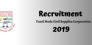 Tamil Nadu Civil Supplies Corporation (TNCSC) Assistant Recruitment 2019