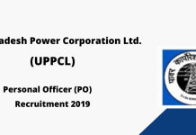 UPPCL Personal Officer (PO) Recruitment 2019