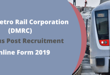 Delhi Metro Rail Corporation (DMRC) Various Post Recruitment Online Form 2019