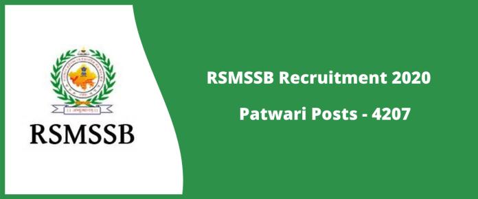 RSMSSB Patwari Recruitment Online Form 2020 - Apply for 4207 Vacancies
