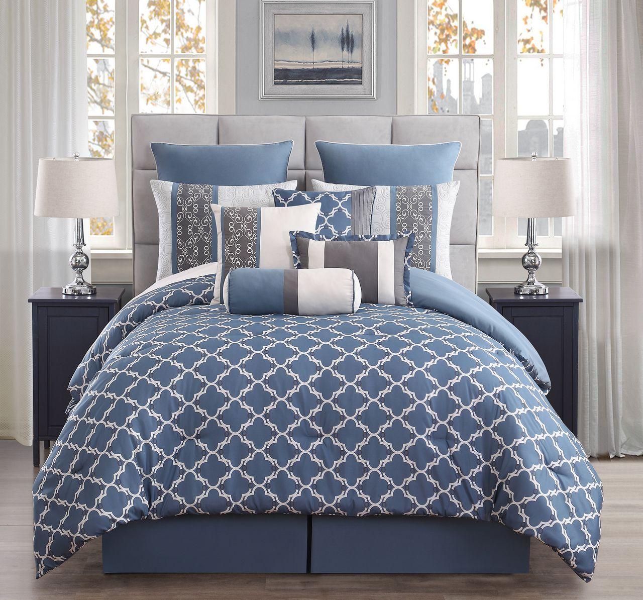 10 Piece Amarta Denim Charcoal Comforter Set Cal King