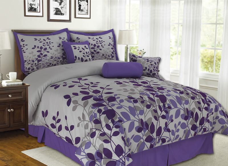 7pcs Queen Fresca Purple And Gray Bedding Comforter Set Ebay