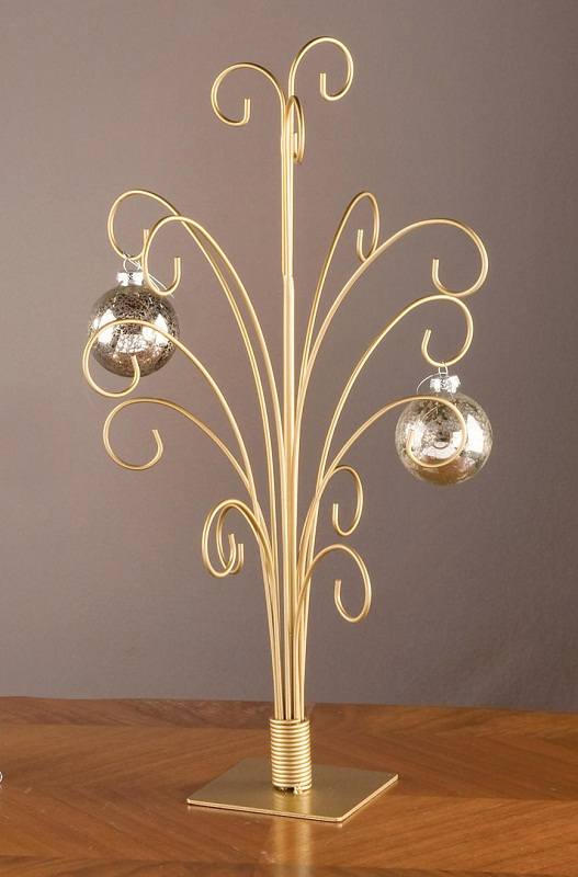 20 GOLD Toned Metal CHRISTMAS ORNAMENT DISPLAY TREE STAND