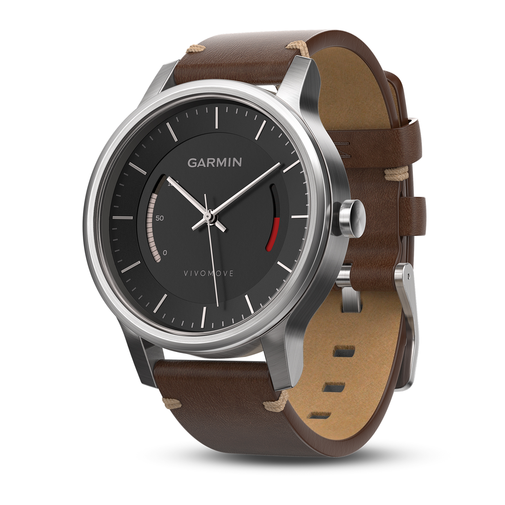 Garmin Vivomove Premium Activity Tracking Watch Stainless Steel W Leather Band