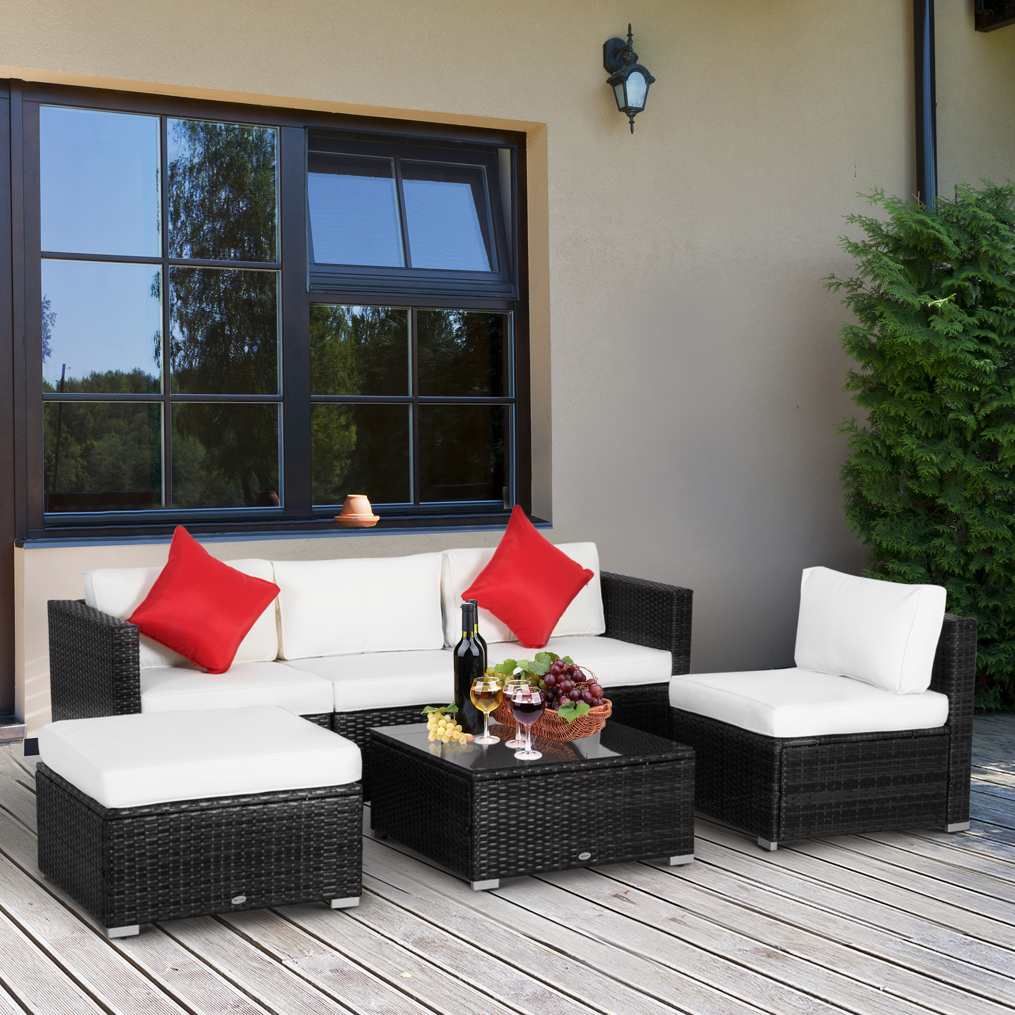details about outsunny 6pc rattan wicker patio sofa set sectional garden yard couch furniture