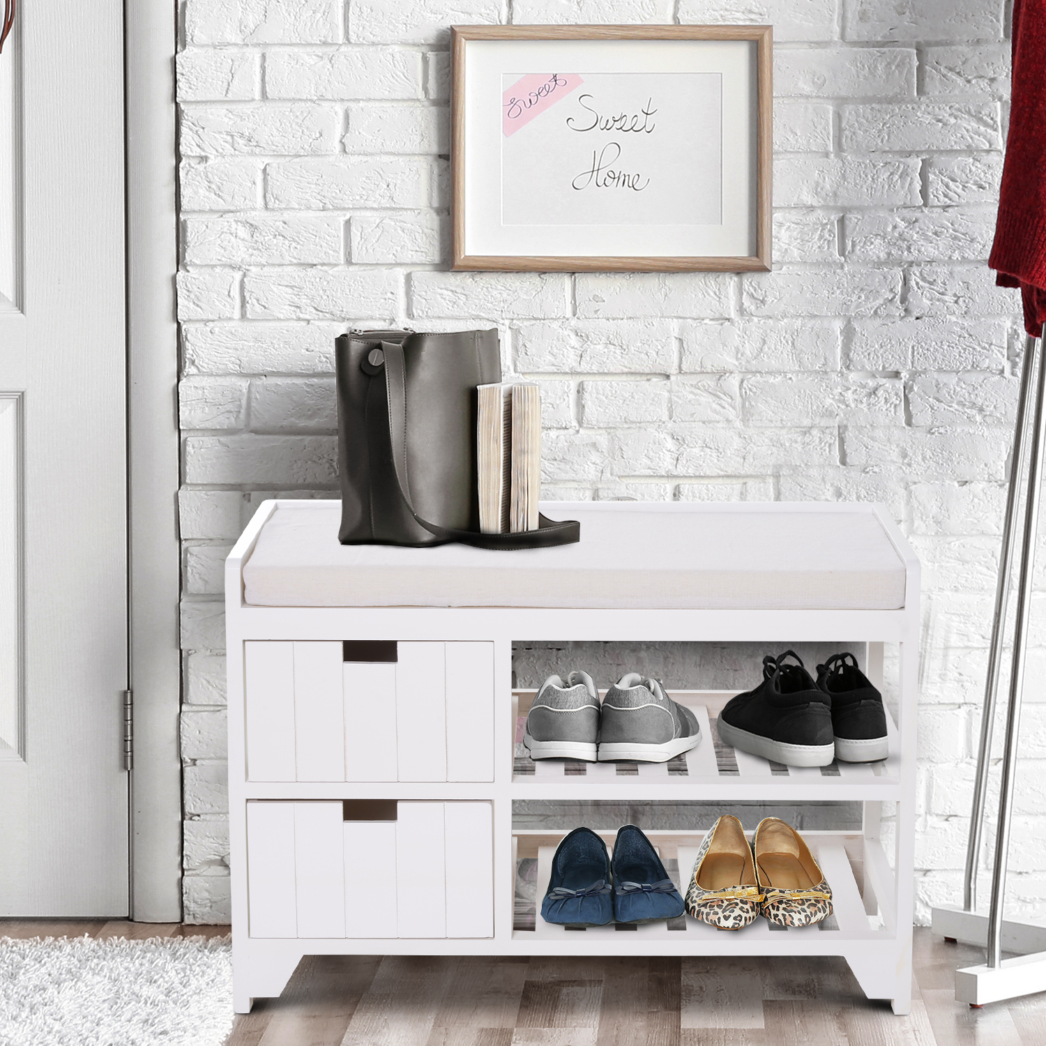 Rustic Country Hall Entryway Small Wooden Shelf Bench Pull Out Drawers Slatted 712190179847 Ebay