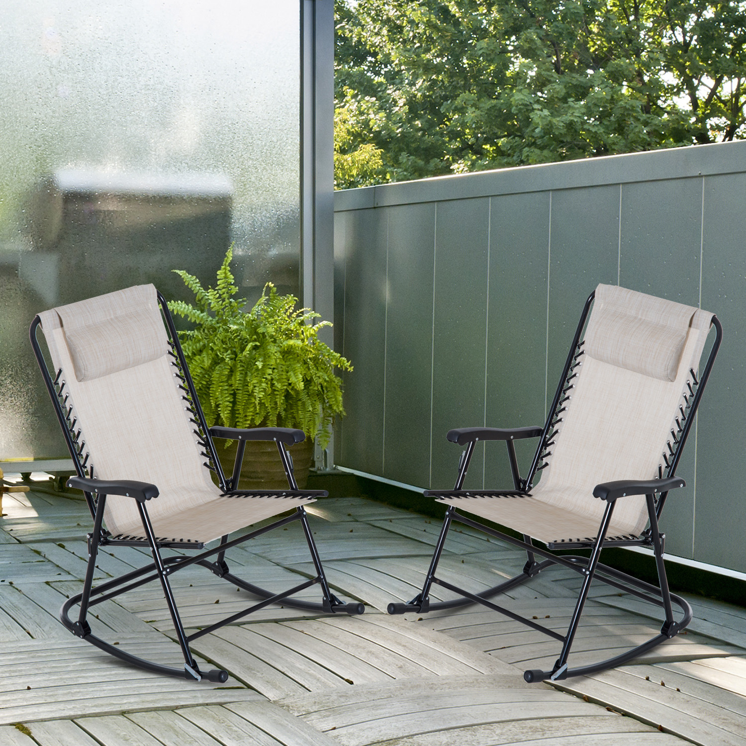 details about outsunny mesh outdoor patio folding rocking chair set porch lawn furniture