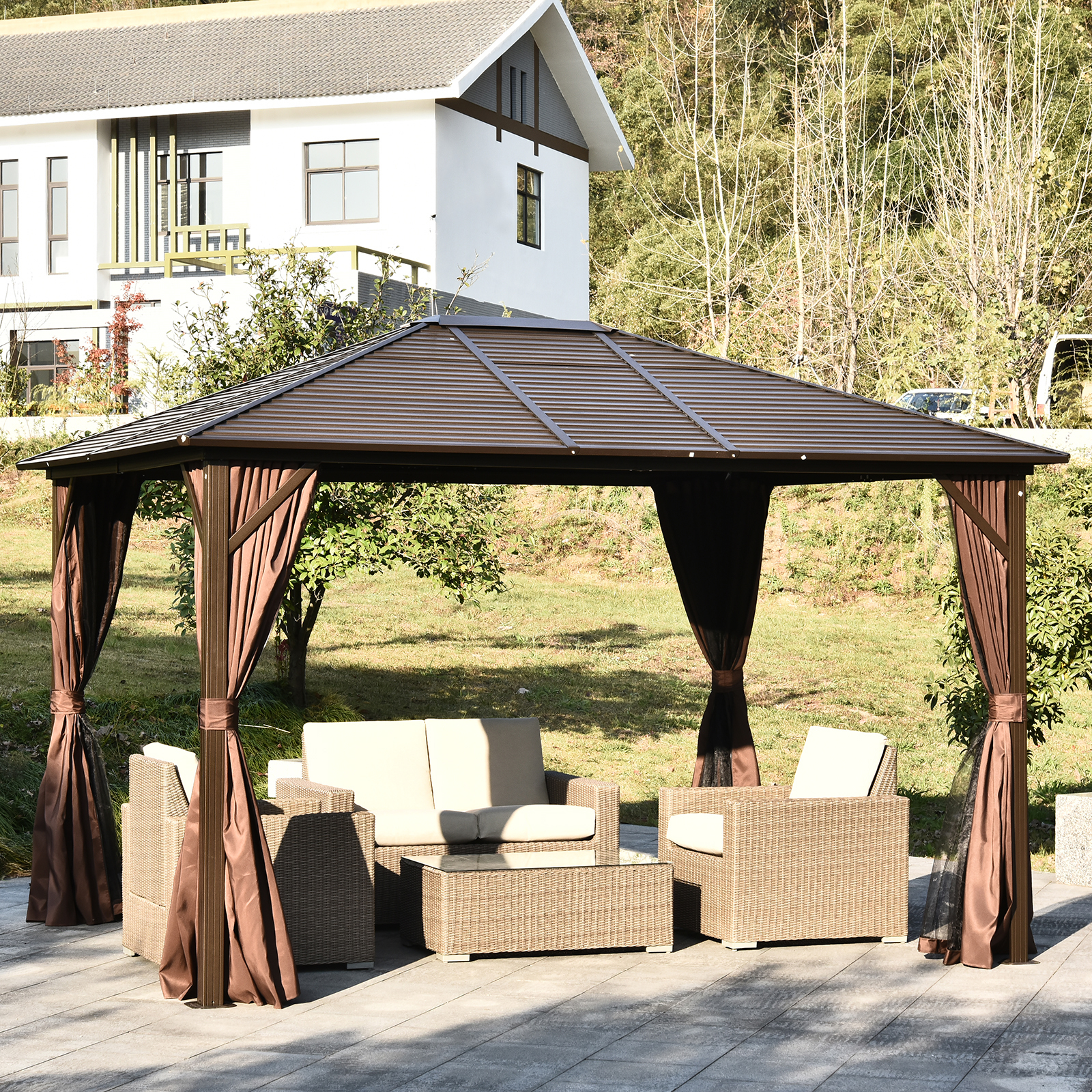 details about 10 x 12 deluxe gazebo patio canopy hard top outdoor event w double netting