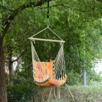 Outsunny Outdoor Swing Chair Garden Wooden Tree Hanging Hammock Seat Cotton Seat