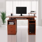 Homcom Computer Desk Study Table Pc Desktop W Printer Shelf Home Office Walnut 763250276631 Ebay