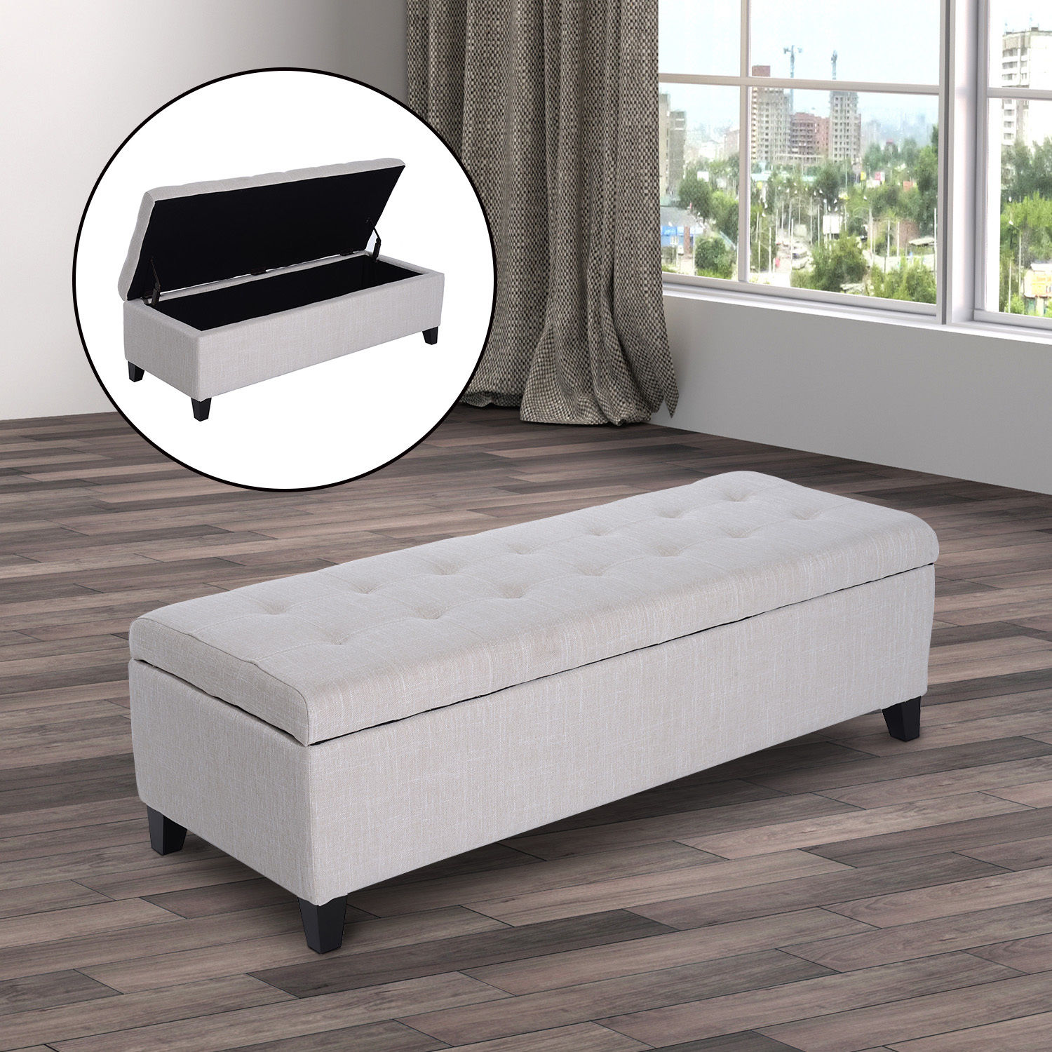 Fabric Storage Ottoman Bench