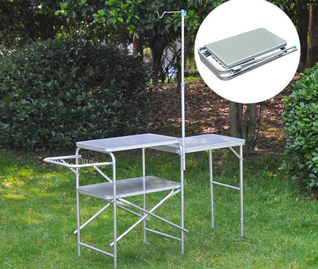 Camping Kitchen Center Stand Portable Folding Camp Cooking Aluminum Picnic Table