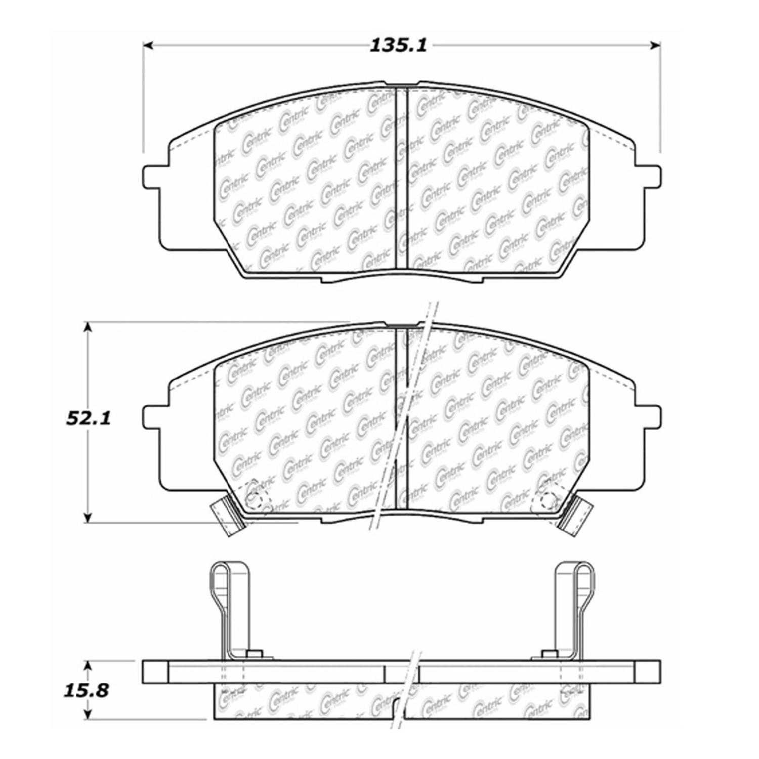 Centric Parts Brake Pads Front Rear For Honda
