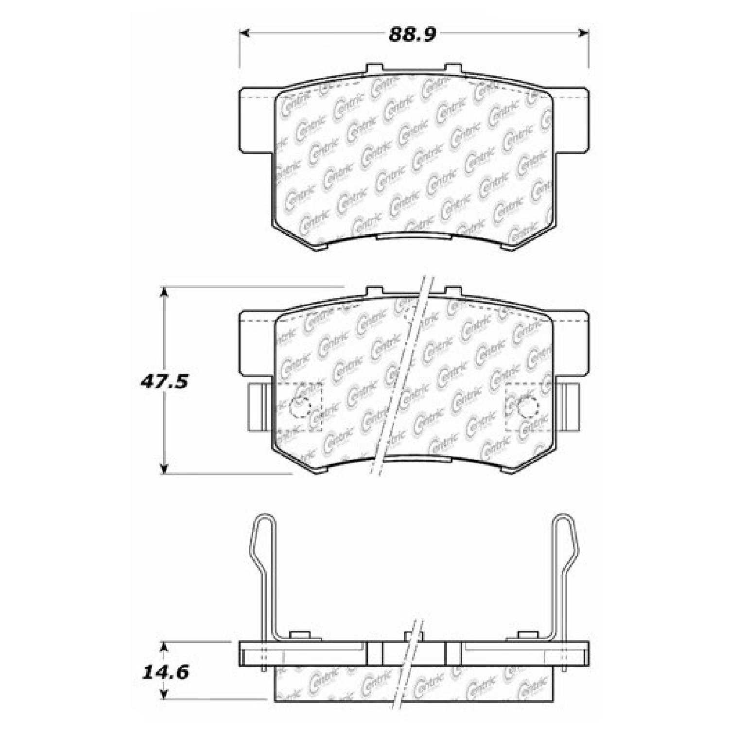 Centric Parts Brake Pads Front Rear For 13 15 Honda Civic