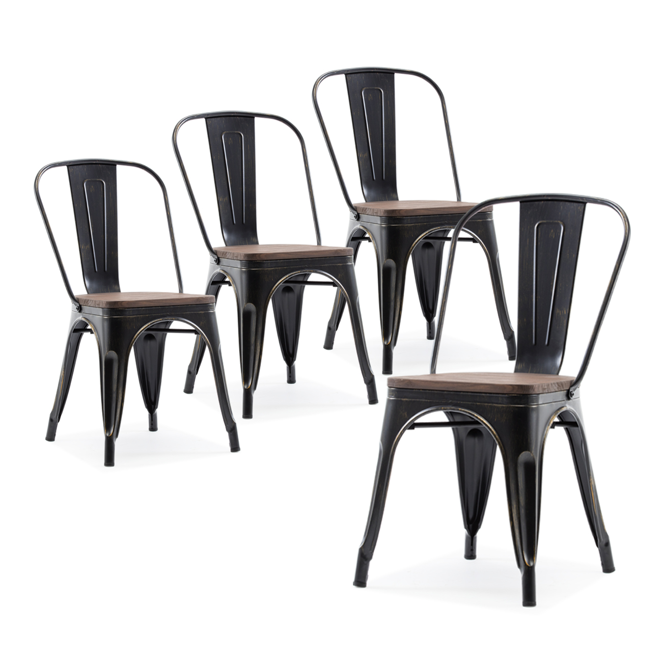 Details About 4 Pc Antique Black Wood Seat Cafe Stool Modern Metal Dining Stacking Chairs