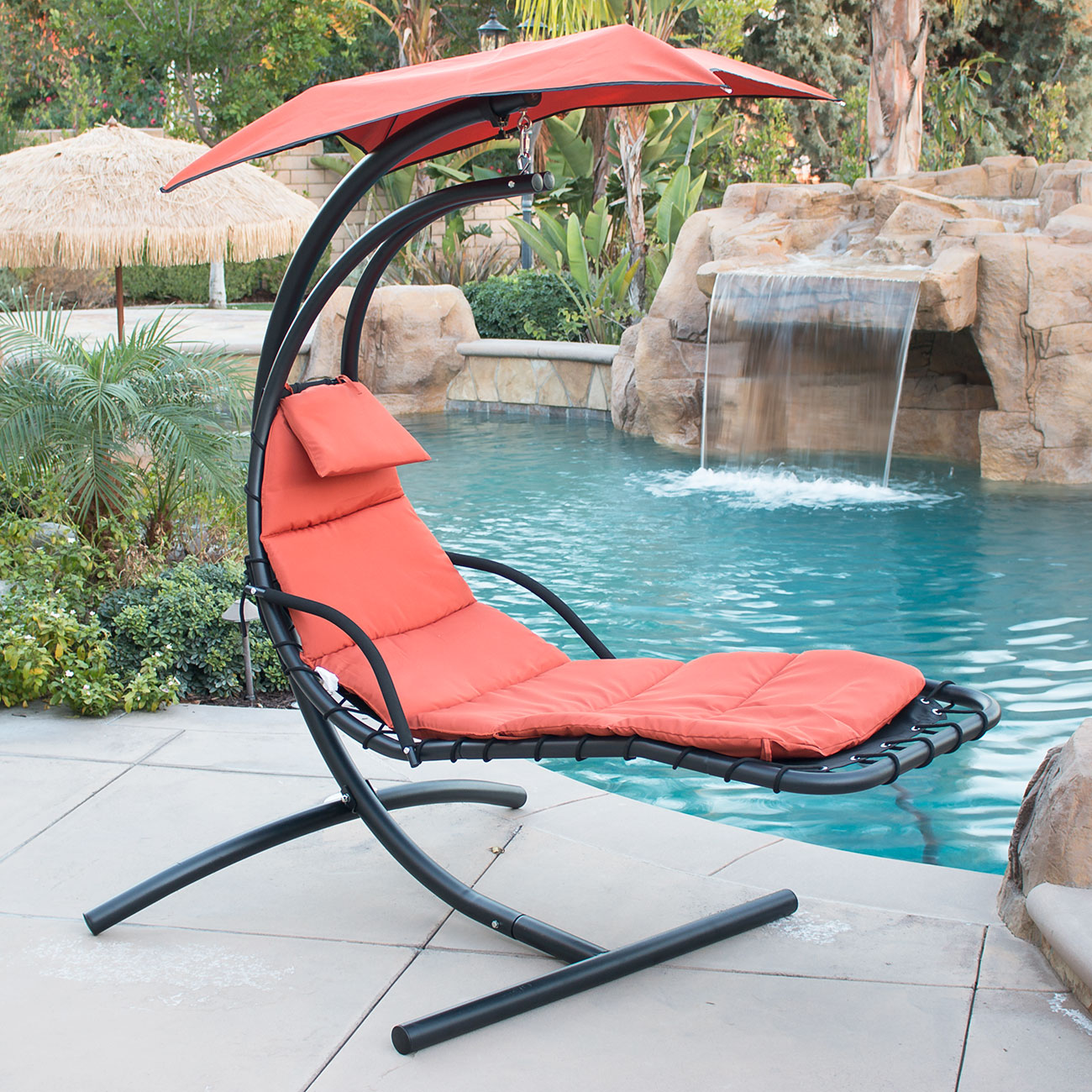 Hanging Chaise Lounger Chair Arc Stand Air Porch Swing