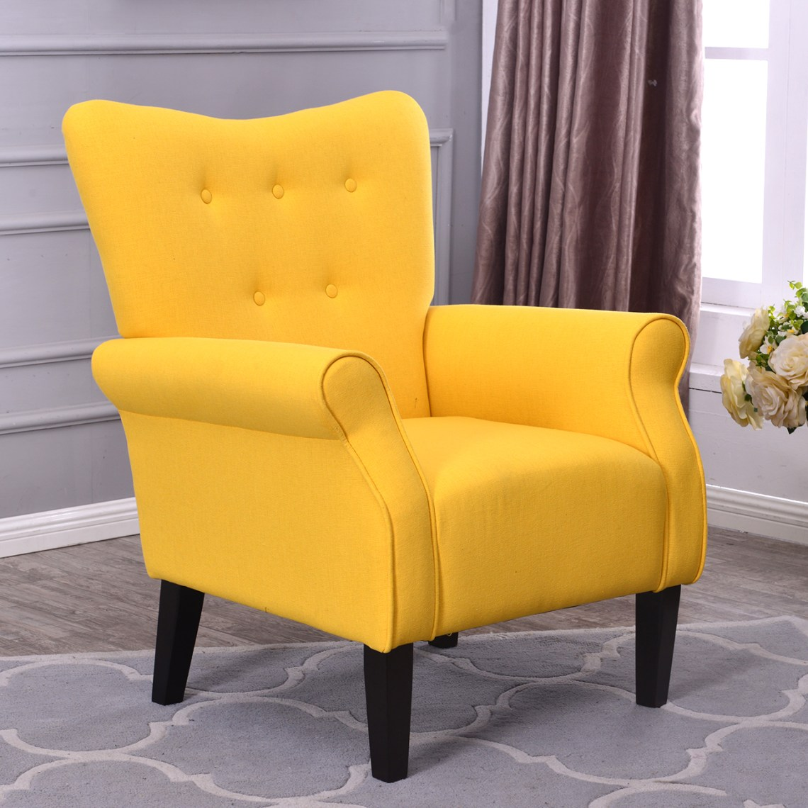 Arm Chair Accent Single Sofa Linen Fabric Upholstered ...
