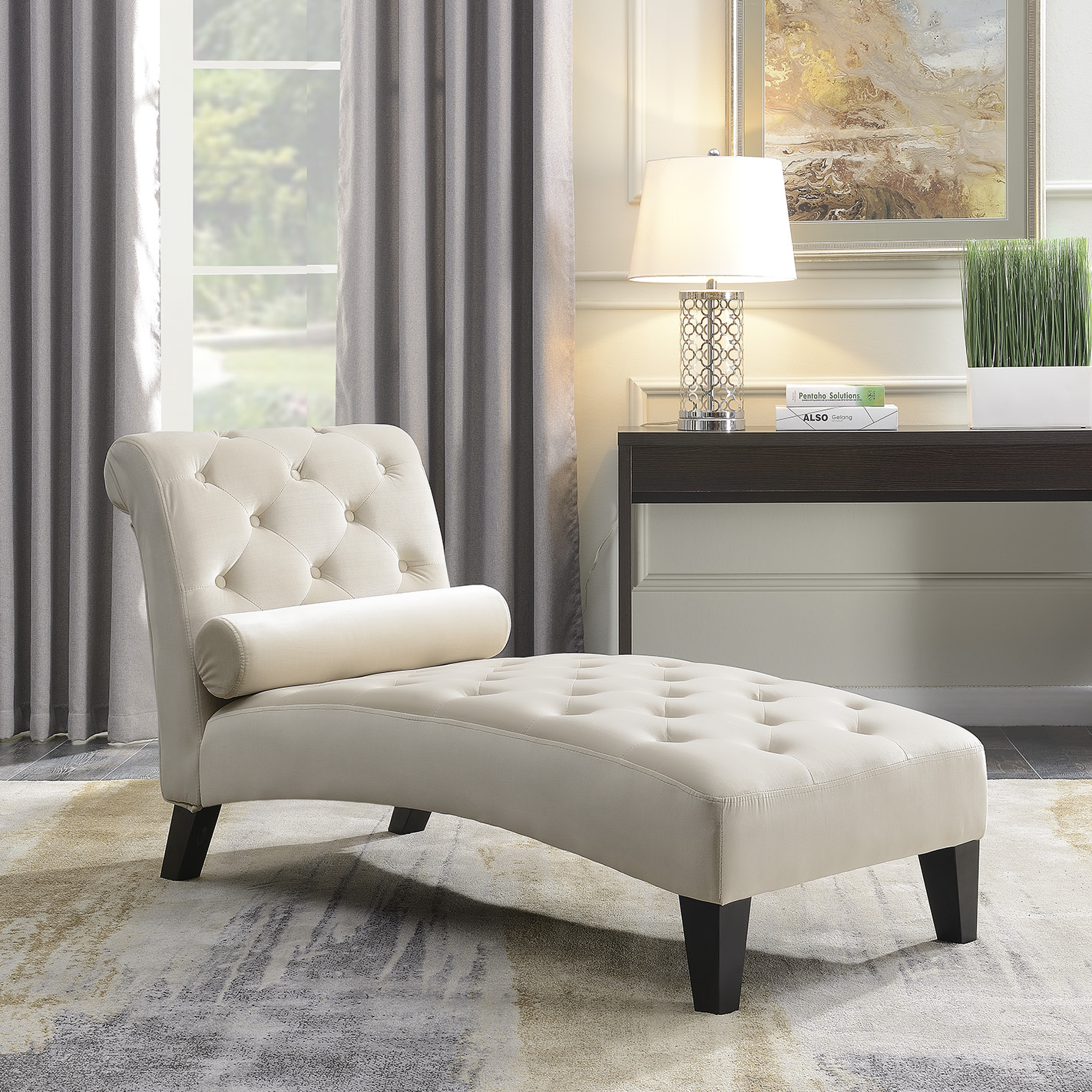 Details About Leisure Sofa Chair Chaise Lounge Couch Button Living Room Lumber Tufted Beige