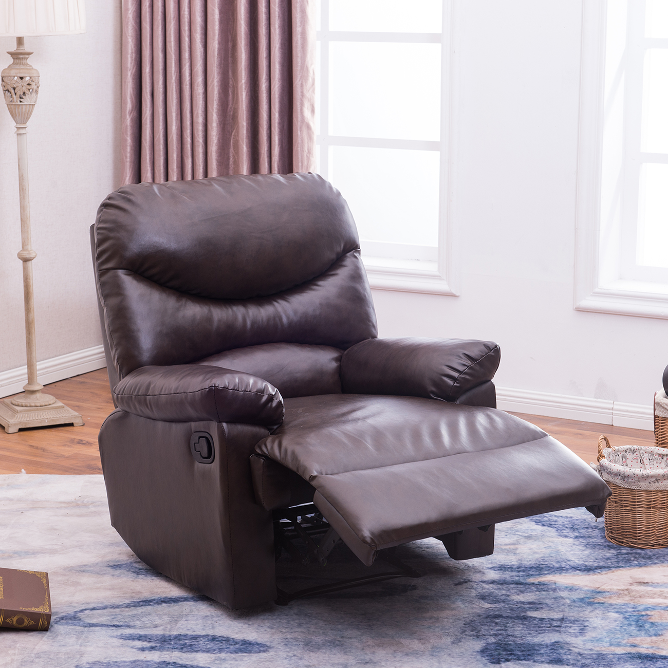 Details About New Contemporary Faux Leather Recliner Club Chair Room Sofa Chair Black Brown