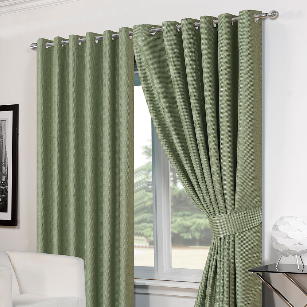 Green Eyelet Curtains Ready Made Functionalities Net