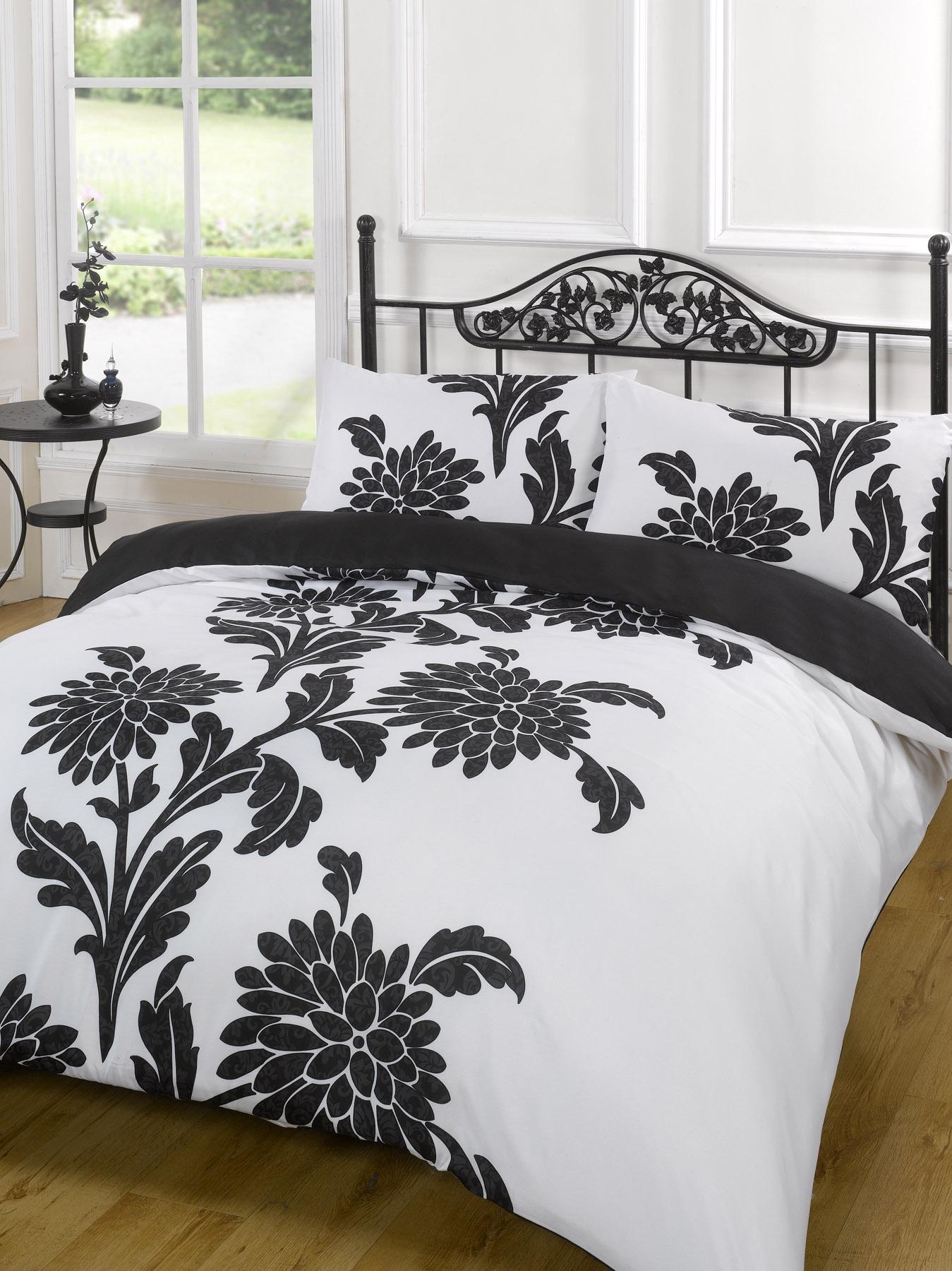 Duvet Quilt Cover Bedding Set Black White Single Double
