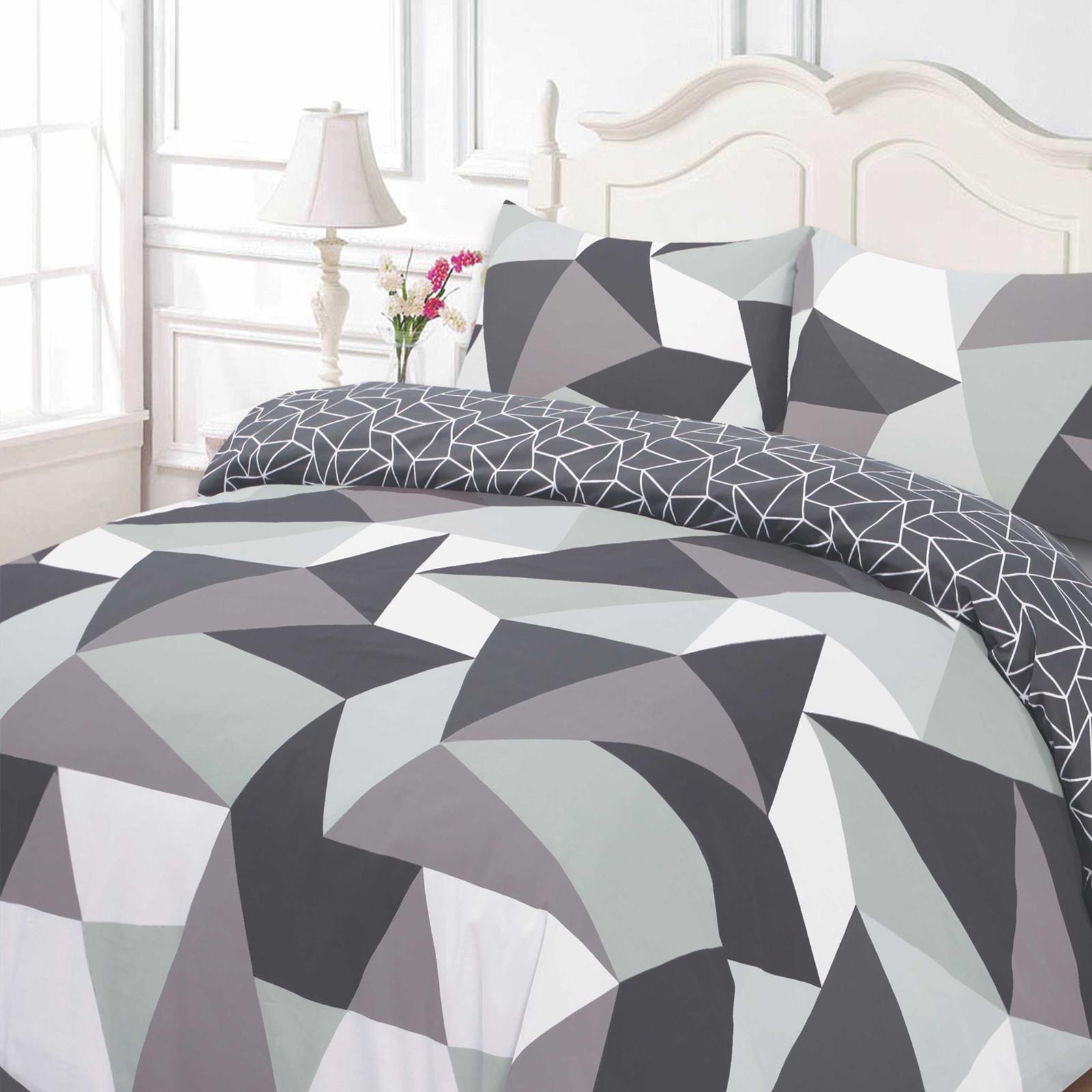 dreamscene geometrique formes housse de couette avec taie d oreiller jaune bleu gris noir