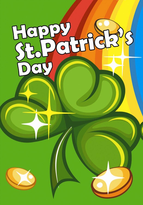 St Patrick S Day Rainbow Garden Flag Shamrock Coins 12 5