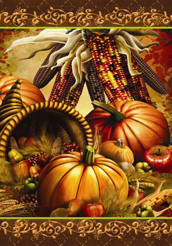 Bountiful Harvest Autumn Garden Flag Cornucopia Pumpkins