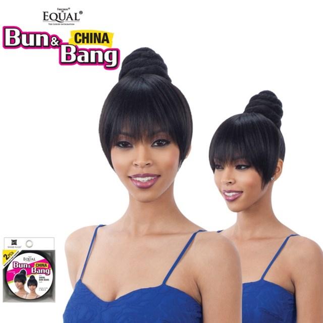 details about swirl bun bang - freetress equal synthetic bun & china bang