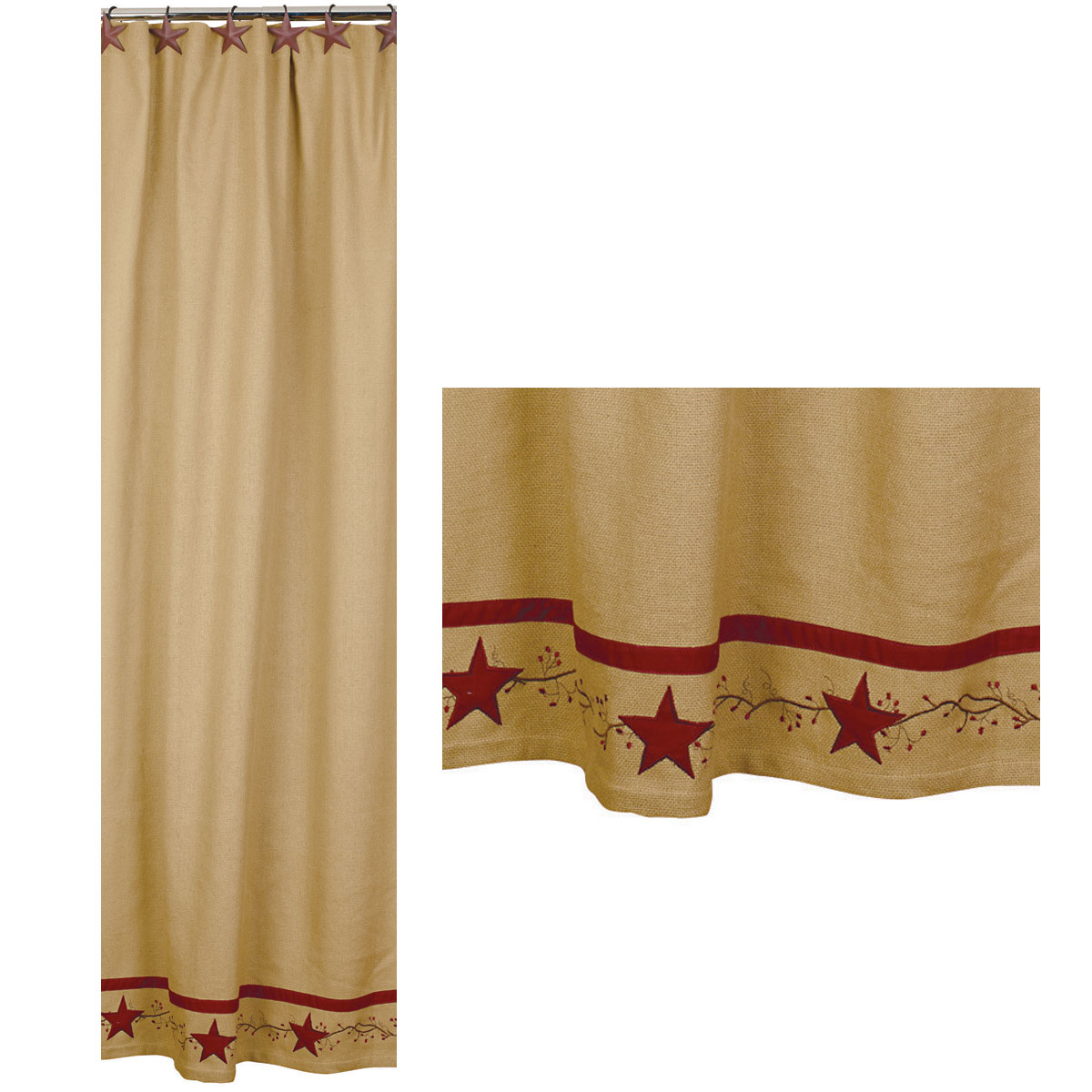 Primitive Star Vine Cotton Burlap Country Shower Curtain
