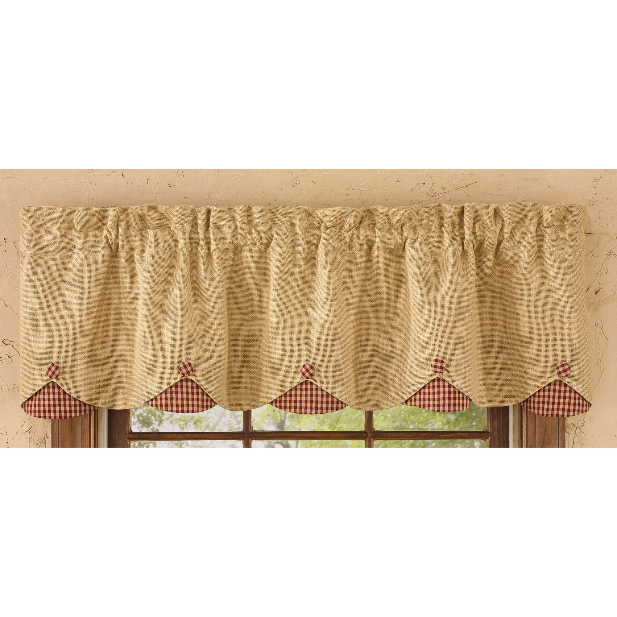 Burlap And Check Scalloped Curtain Valance By Park Designs