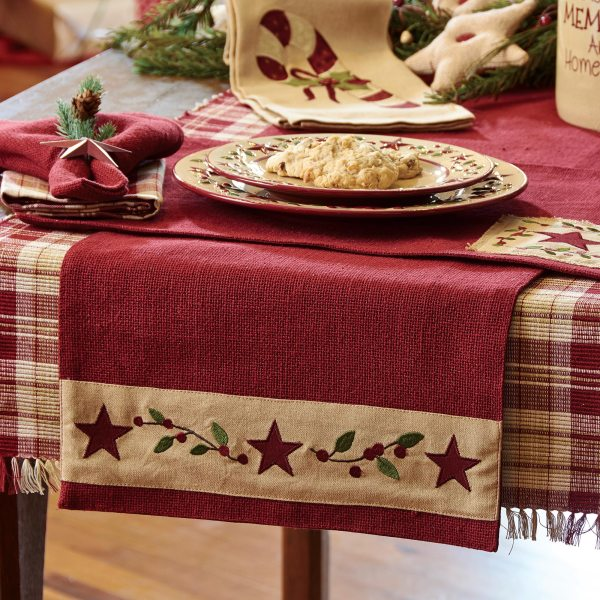 Christmas Star 54 Inch Table Runner   eBay Christmas Star Red  Green and Tan Table Runner By Park Designs