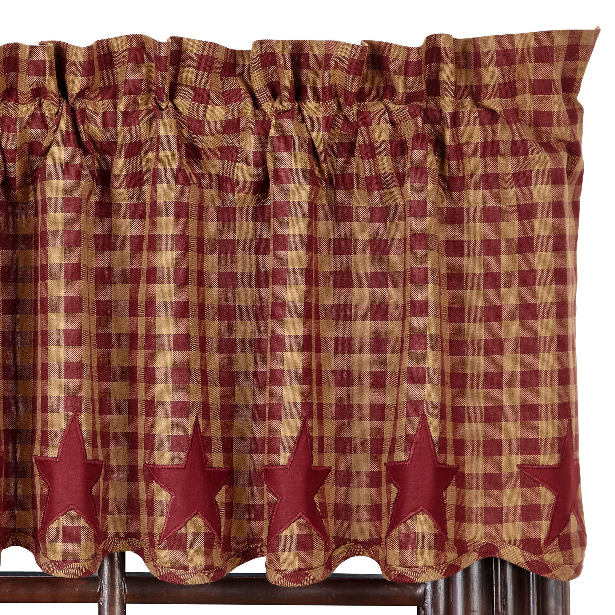 Details About Star And Check Scalloped Country Curtain Valance Navy Black Or Burgundy