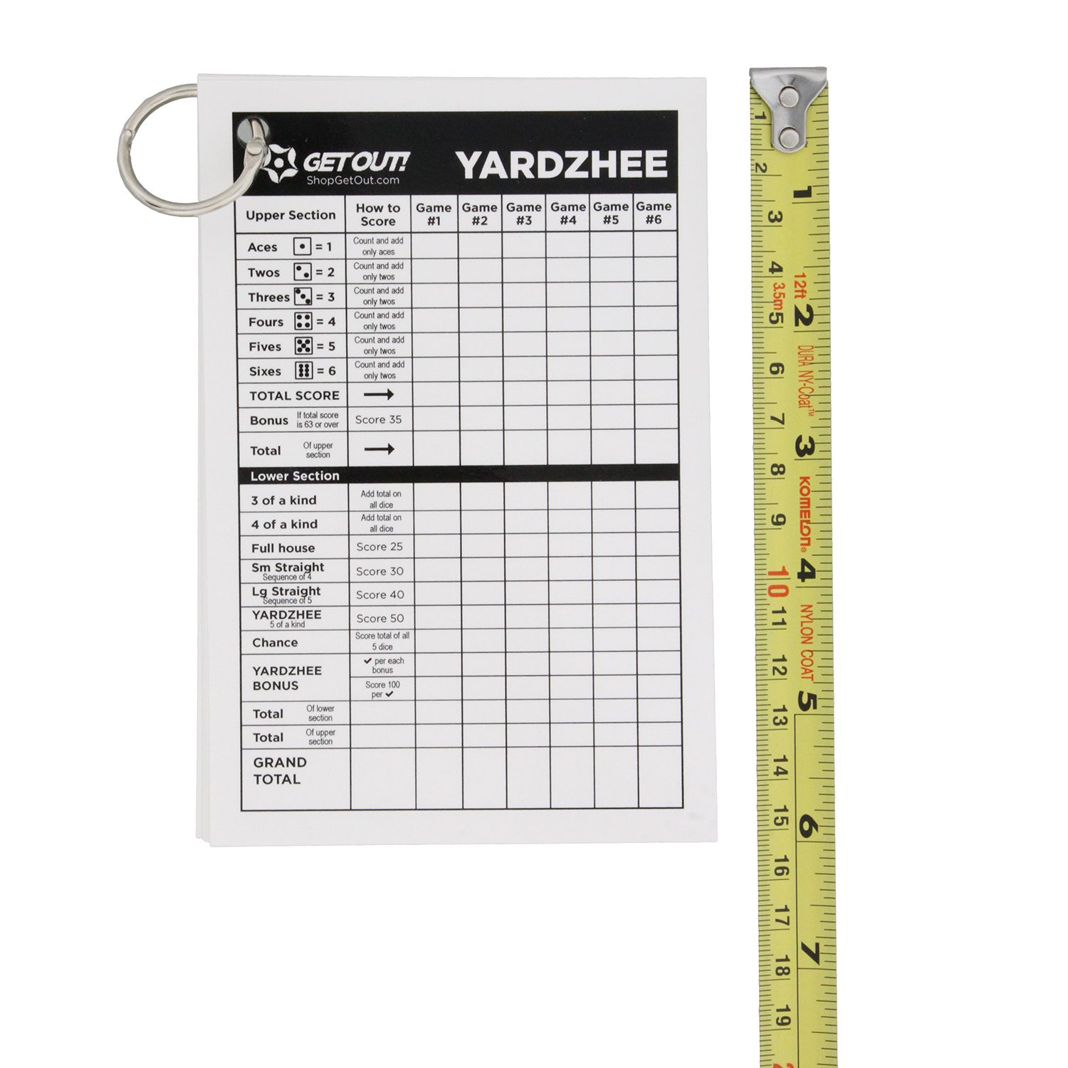 Yard Dice Laminated Score Cards Small 5pk Dice Game Sheets