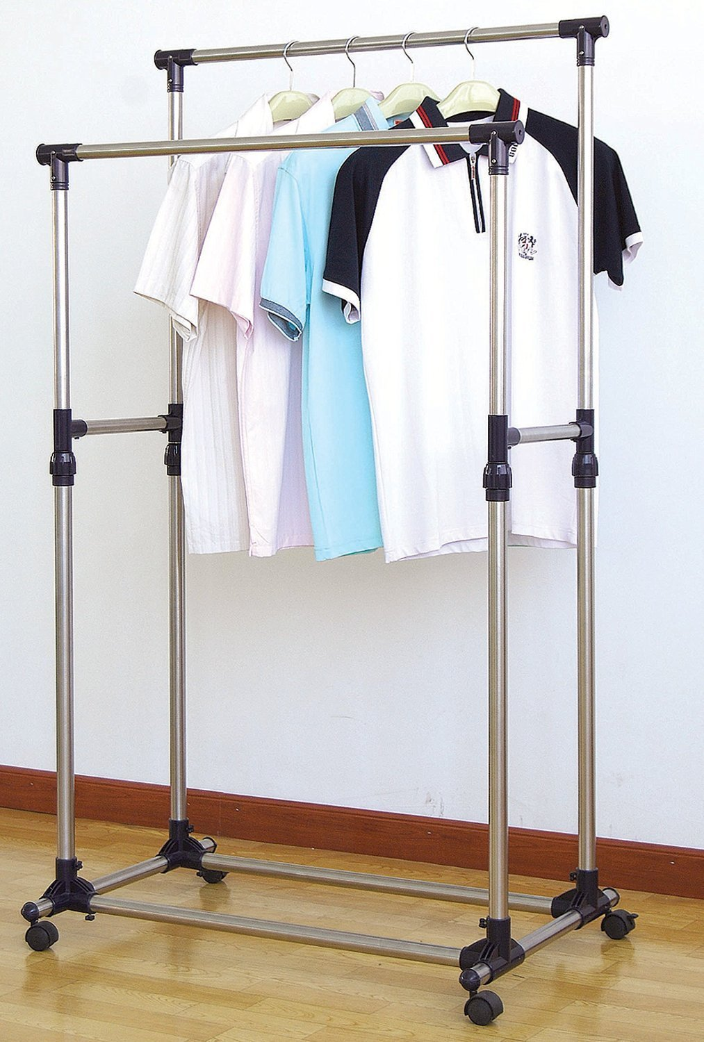 household supplies cleaning high quality garment rack wheels rolling clothes closet rack hanger shelves home organization