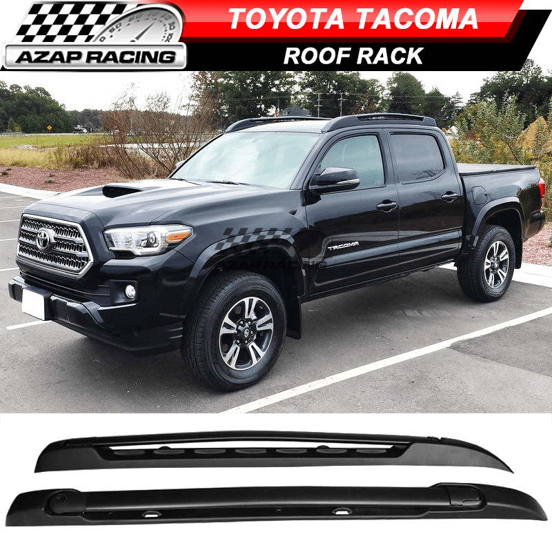 details about fit for 05 06 18 toyota tacoma double cab stowaway roof rack black cross bar