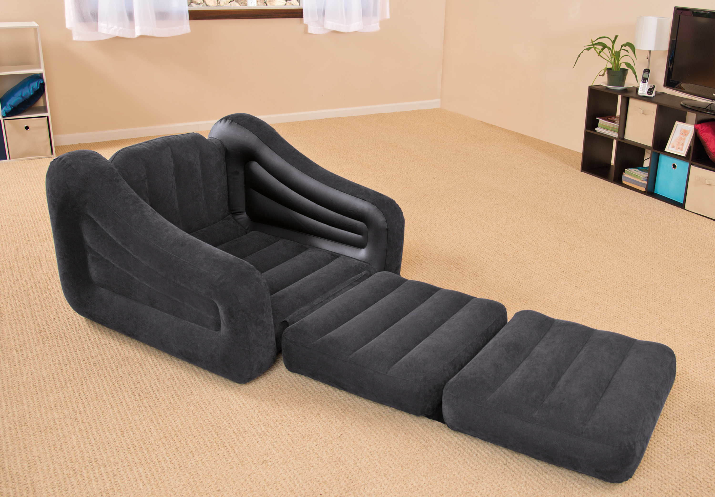 Intex Inflatable Air Chair With Pull Out Twin Bed Mattress