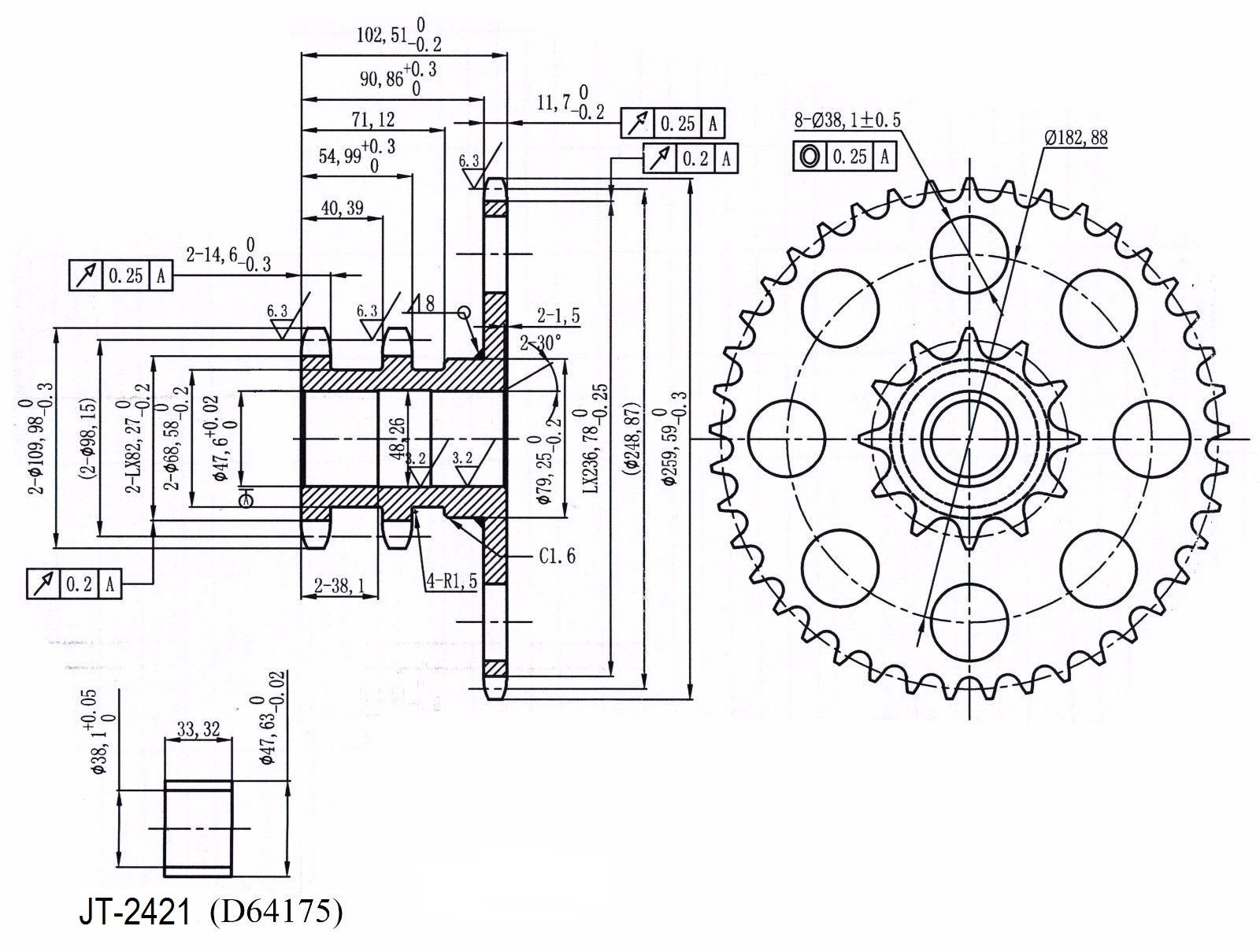 D Chain Drive Sprocket For Case Ih Skid Steer Loader