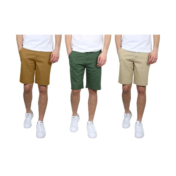 5-Pocket Flat-Front Chino Shorts  Flat-Front Design  Modern Slim-Fit Design  Stretch Cotton Fabric For Versatility & Comfort  Button Closure W/ Functional Fly Zipper  2-Side Pockets, 2-Back Pockets, 1-Coin Pocket  Belt Loops  Double Stitched Hem  Materials: 97% Cotton, 3% Spandex  Care Instructions: Machine Wash Cold  SLIM FIT- FOR A GENEROUS FIT BUY ONE SIZE UP