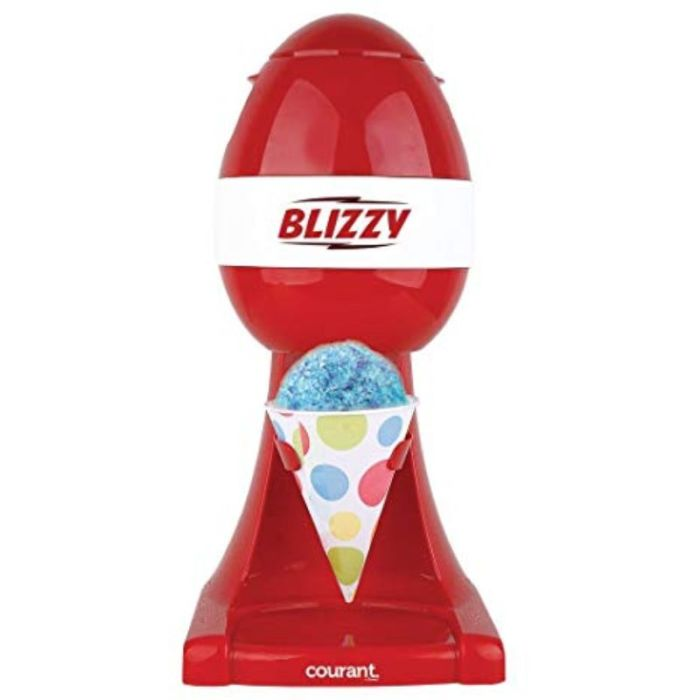 The Blizzy Snow Cone Maker will make a snow cone in just seconds from regular ice cubes! With real stainless steel shaving blades and, festive red color and large push button, it's sure to add fun to any party, or cool you down on a hot summer's day!