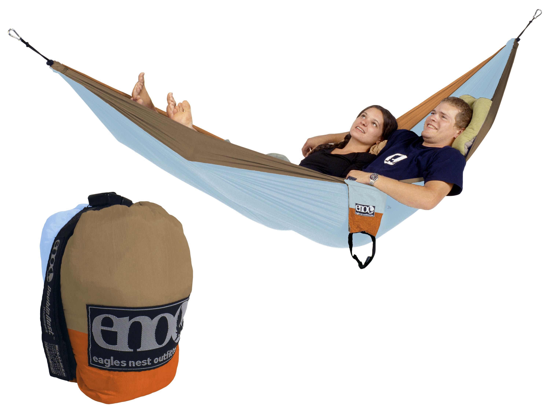 Eno Double Nest Hammock Blue Orange Khaki Two Person New